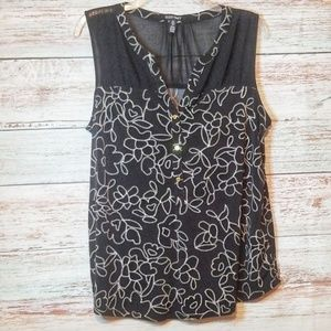 Ellen Tracy Top Black White Floral Sleeveless L